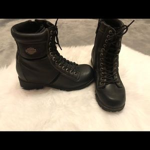 Harley Davidson Leather Black Lace Up Combat Boots